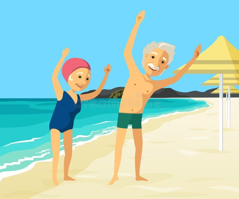 Moget folk som gör fysisk övning på stranden royaltyfri illustrationer