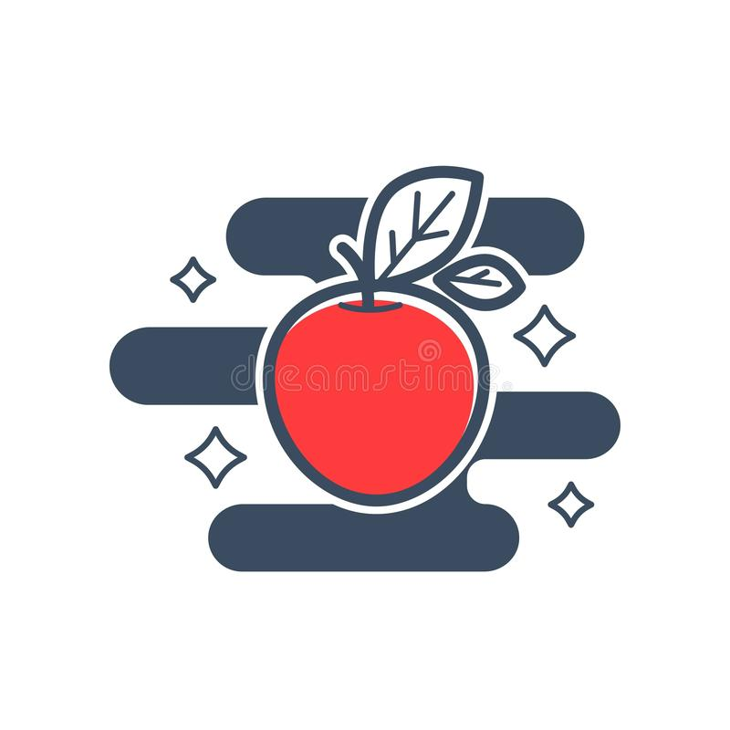 Moget rött äpple med bladet, polerat och skinande royaltyfri illustrationer