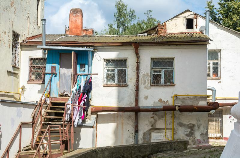 A small dwelling of poor people in Mogilev. Belarus. Mogilev. Belarus. August 26. 2017. Very modest private housing for poor people in Mogilev. Belarus stock image