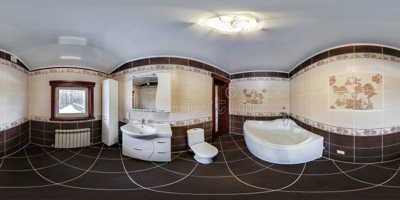 MOGILEV, BIELORRÚSSIA - EM OUTUBRO DE 2017: Interior sem emenda esférico completo do panorama da opinião de ângulo de 360 graus d imagens de stock