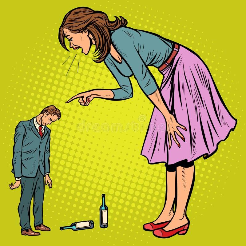 Moglie che rimprovera marito ubriaco royalty illustrazione gratis