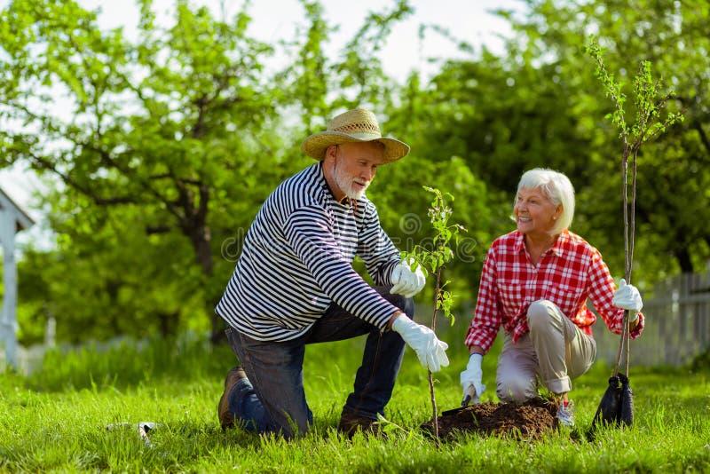 Moglie che sorride mentre guardando il suo marito piantare gli alberi fotografia stock libera da diritti