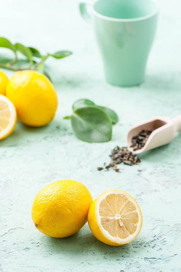 Mogna citroner, teblad och en kopp på enblått bakgrund royaltyfri foto