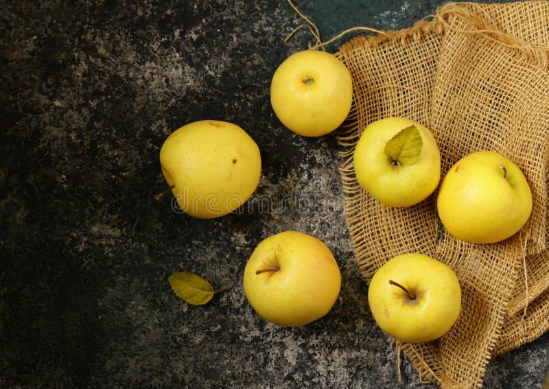 Mogna gula organiska äpplen fotografering för bildbyråer