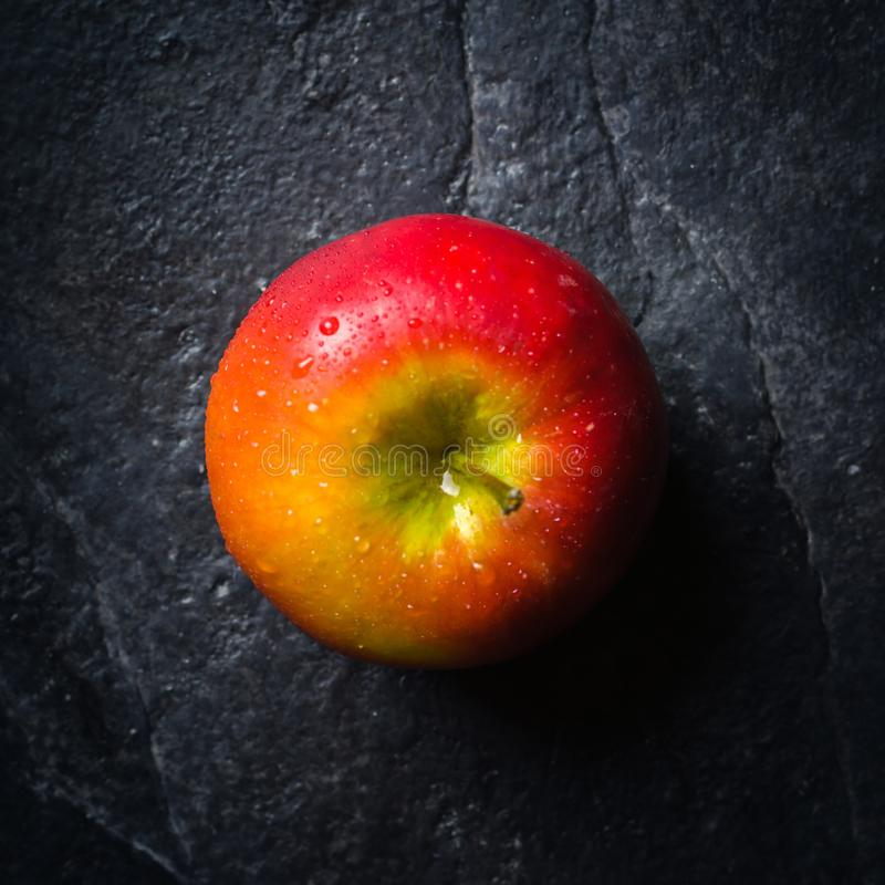 Mogna höstäpplen som är röda och som är gula på en svart stenbakgrund från, kritiserar plockning Vitaminer är bra för hälsa fotografering för bildbyråer