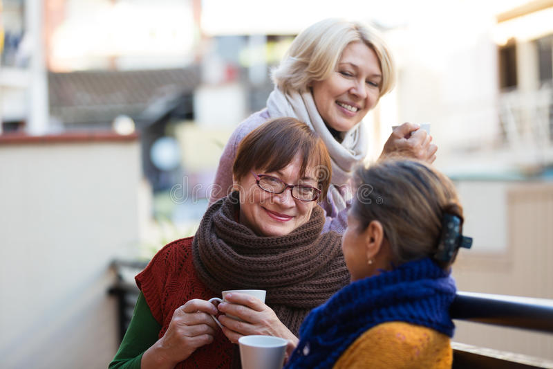 Mogna kvinnor som dricker te royaltyfria bilder