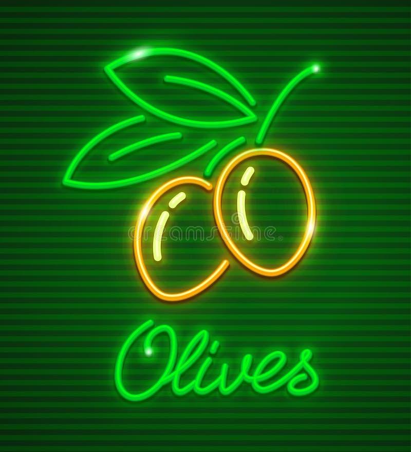 Mogna oliv på filial med gröna sidor vektor illustrationer
