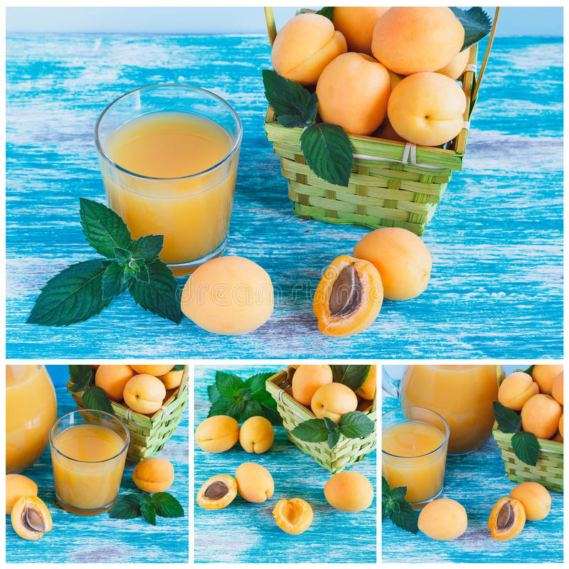 Mogna orange aprikors i korgen med sidor av mintkaramellen och exponeringsglas av fruktsaft royaltyfria bilder