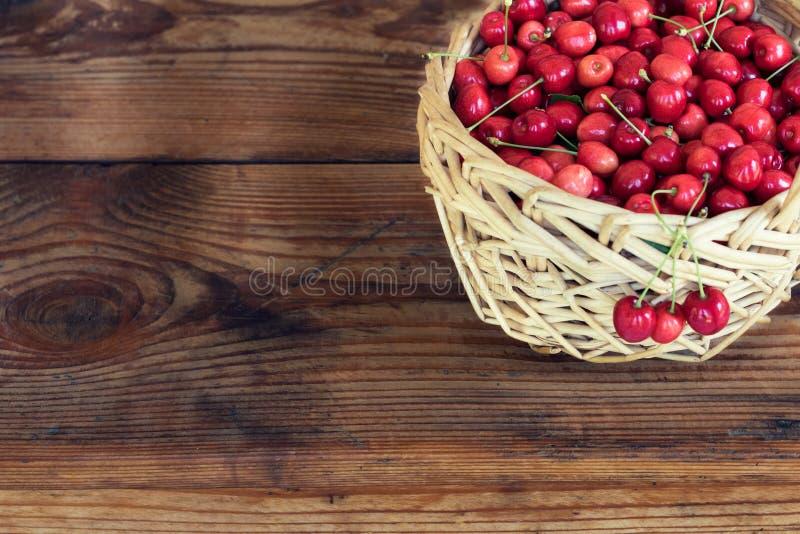 Mogna organiska självodlade körsbär i en korg royaltyfri bild