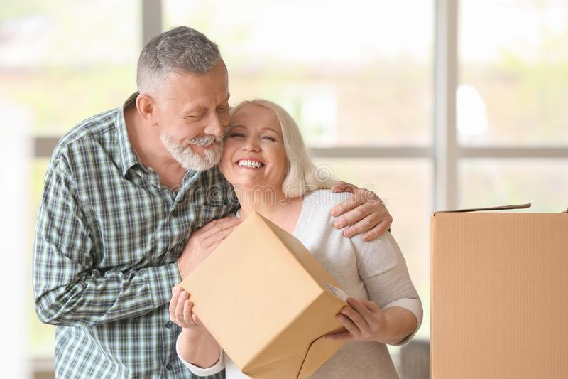 Mogna par med flyttningaskar på det nya hemmet royaltyfri foto