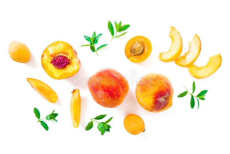 Mogna persikor och aprikos med sidor som isoleras på vit bakgrund Vit bakgrund, ljusa objekt Top besk?dar Lekmanna- l?genhet royaltyfria bilder