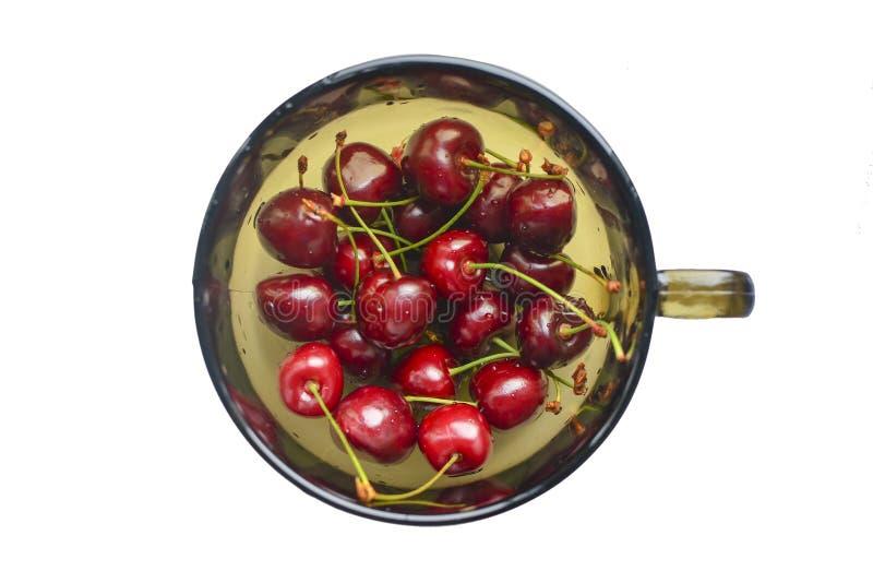 Mogna smakliga körsbär i en exponeringsglaskopp Nya saftiga bär mot vit bakgrund Läckra säsongsbetonade frukter Mogna smakliga k? royaltyfri foto