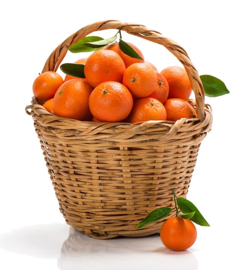 Mogna tangerin med gröna sidor i korg royaltyfri fotografi