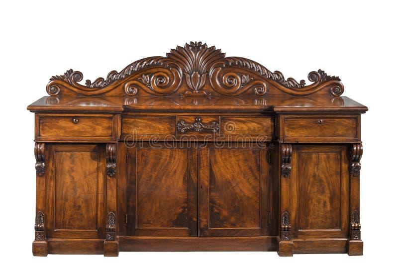 Mogno vitoriano inglês antigo velho que janta vagabundos do armário do serviço imagens de stock royalty free