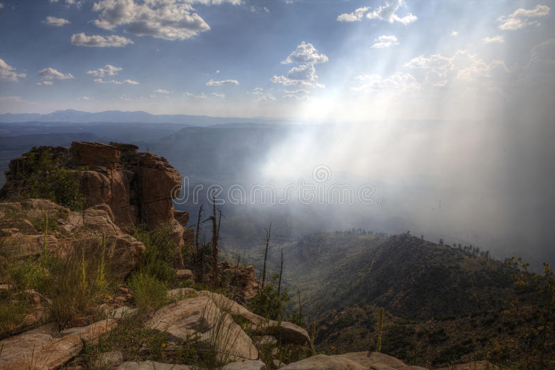 Mogollon Rim Bush Fire i Arizona arkivbild