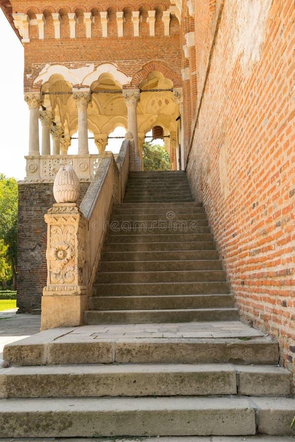 Mogosoaia,罗马尼亚- 2018年8月05日:带领具体的台阶在Mogosoaia宫殿入在布加勒斯特,罗马尼亚附近 免版税库存图片
