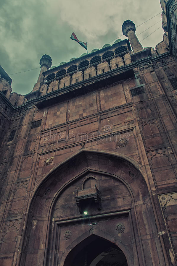 Mogul Architecture detail of RED FORT , New Delhi , India royalty free stock photography
