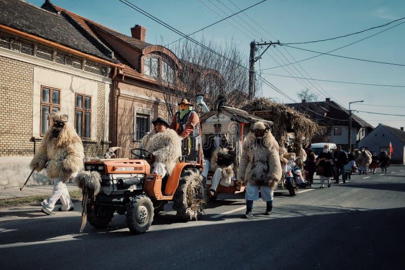 Mohacs Baranya, Węgry, FEB,/- 26 2017: tradycyjni uczestnicy wędruje ulicy ich dzwonili buso busojaras wydarzenie zdjęcie stock