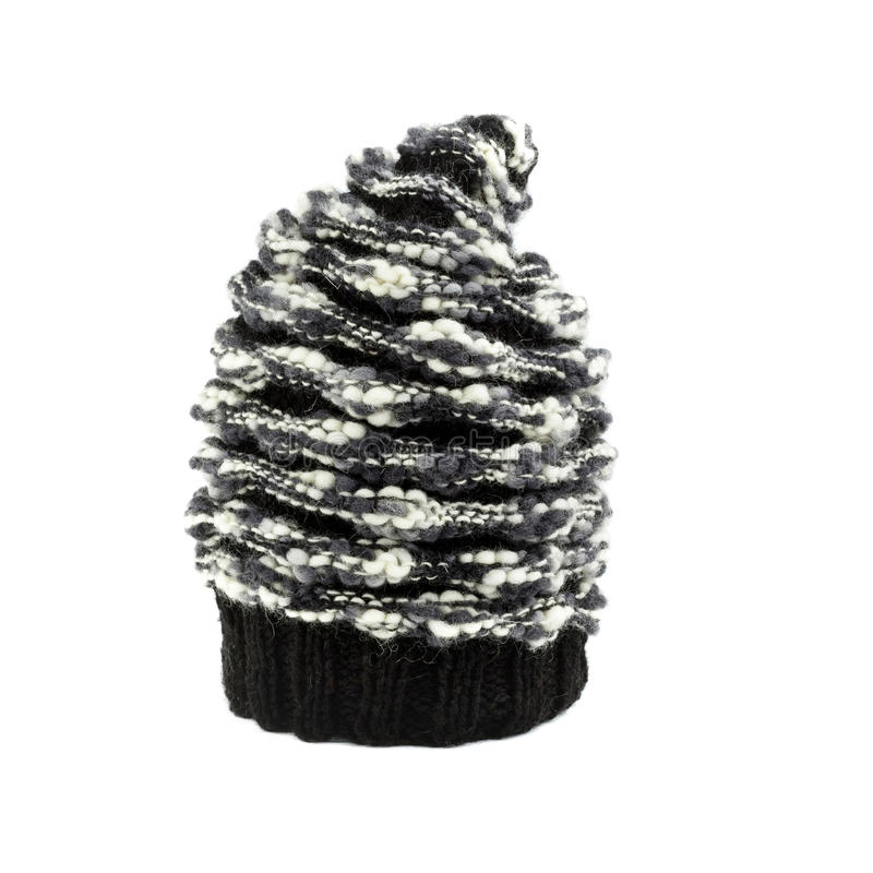 Mohair black and white winter hat stock photo