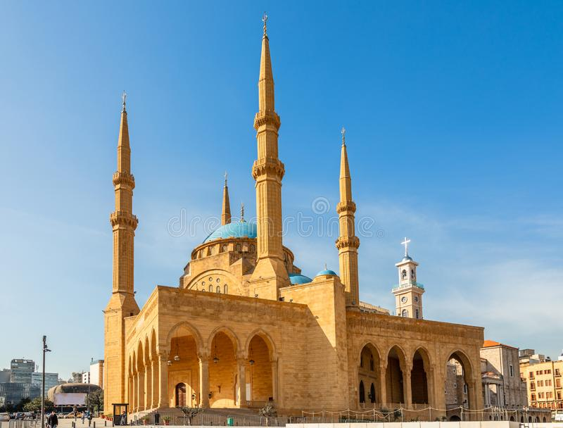Mohammad Al-Amin Mosque and and Saint Georges Maronite cathedral in the background in the center of Beirut, Lebanon. Amine, ancient, arab, arabesque, arabic royalty free stock image