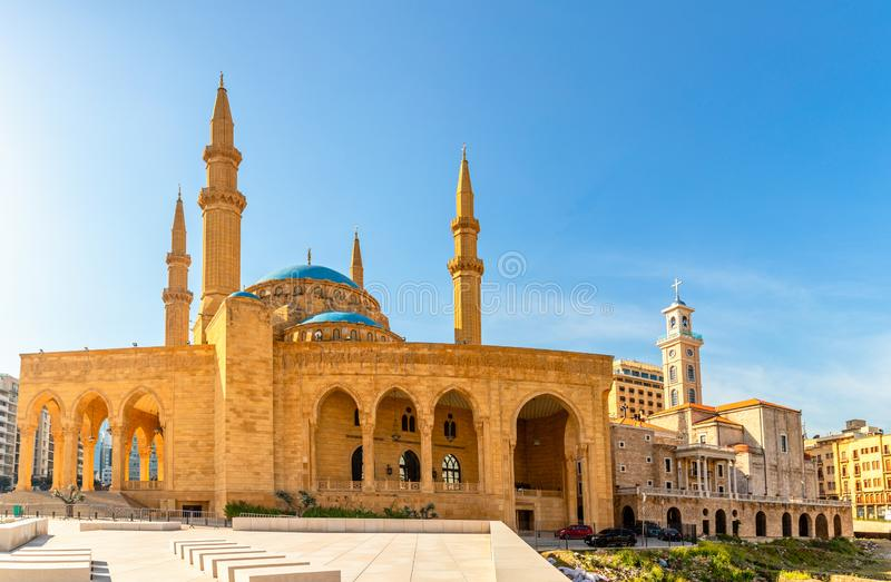 Mohammad Al-Amin Mosque and Saint Georges Maronite cathedral in the center of Beirut, Lebanon. Amine, ancient, arab, arabesque, arabic, architecture stock photos