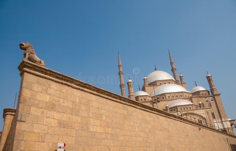 Mohammed Ali lub alabaster meczet, Saladin cytadela, Kair, Egipt niekonwencjonalny kąta strzał obrazy stock
