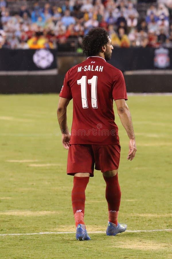 Mohammed Salah -11of Liverpool FC w akci przeciw Machester miastu podczas 2018 zawodów międzynarodowych mistrzów filiżanki gry zdjęcie royalty free