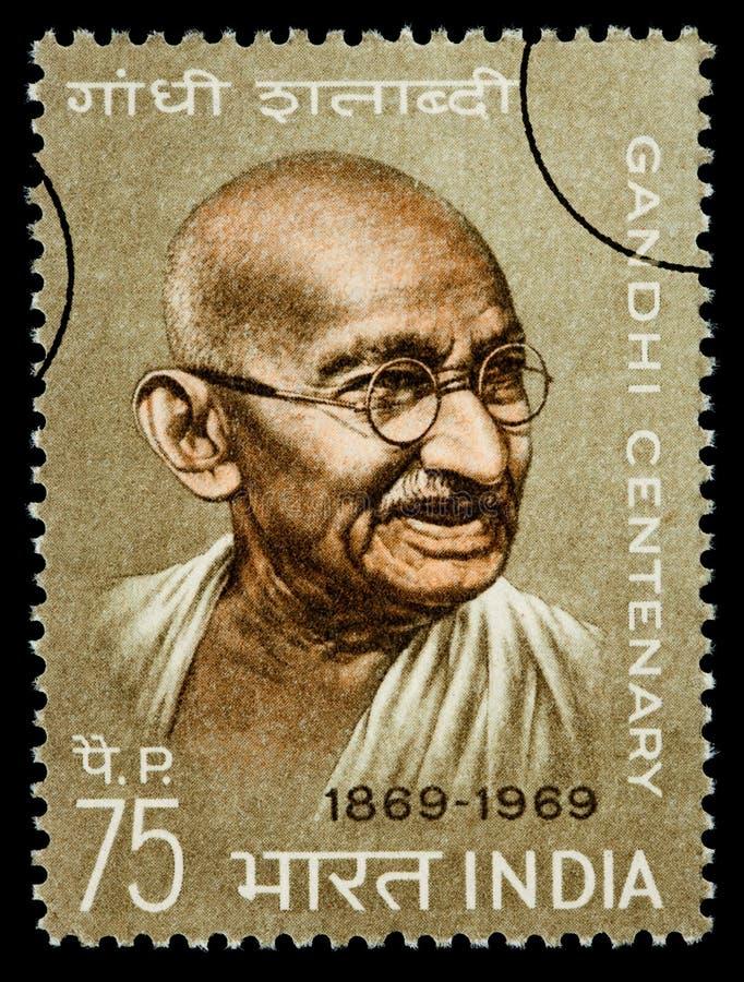 Mohandas Karamchand Gandhi Postage Stamp. INDIA - CIRCA 1970: A postage stamp printed in India showing Mohandas Karamchand Gandhi, circa 1970 royalty free illustration