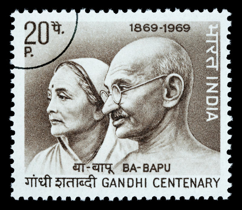 Mohandas Karamchand Gandhi Postage Stamp. INDIA - CIRCA 1980: A postage stamp printed in India showing Mohandas Karamchand Gandhi, circa 1980
