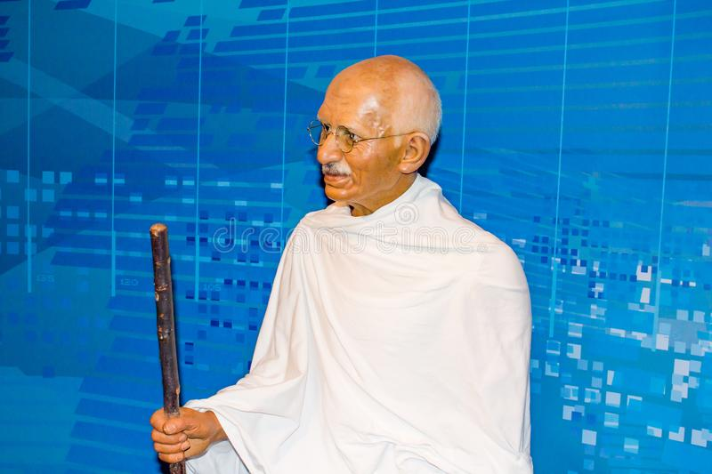 Mahatma Gandhi wax statue, Madame Tussaud`s Vienna. Mohandas Karamchand Gandhi was an Indian activist who was the leader of the Indian independence movement stock photography