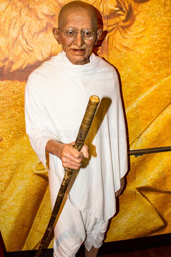Mahatma Gandhi wax statue Madame Tussaud`s Amsterdam. Mohandas Karamchand Gandhi was an Indian activist who was the leader of the Indian independence movement royalty free stock photography
