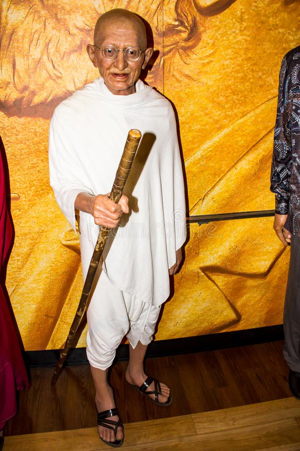 Mahatma Gandhi wax figure Madame Tussaud`s Amsterdam. Mohandas Karamchand Gandhi was an Indian activist who was the leader of the Indian independence movement royalty free stock images
