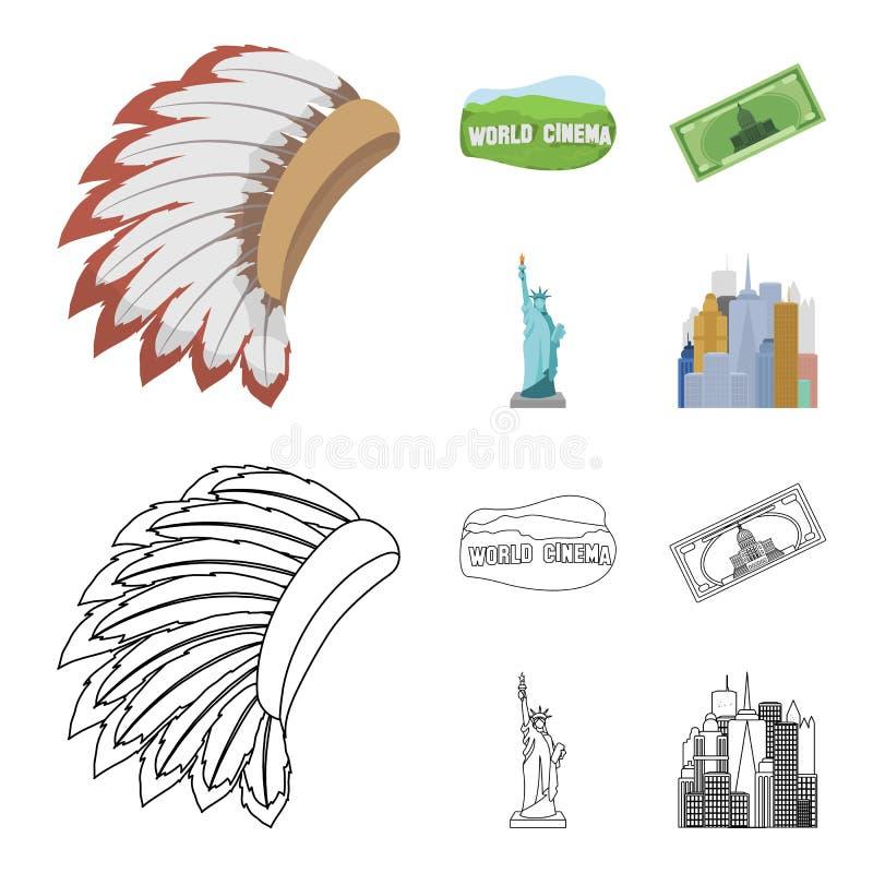 Mohavk världsbio, dollar, en staty av frihet Symboler för samling för USA landsuppsättning i tecknade filmen, översiktsstilvektor stock illustrationer