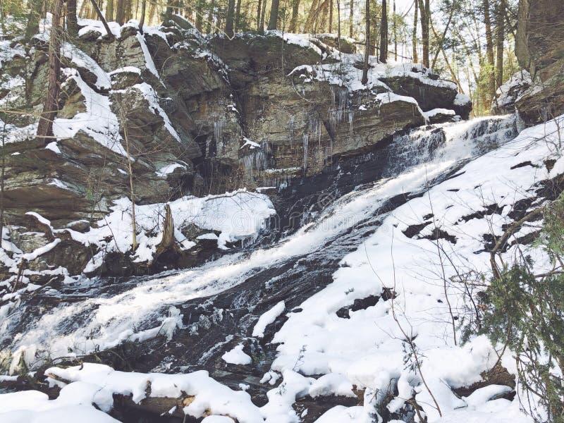 Mohawk śladu siklawa po śniegu zdjęcia stock