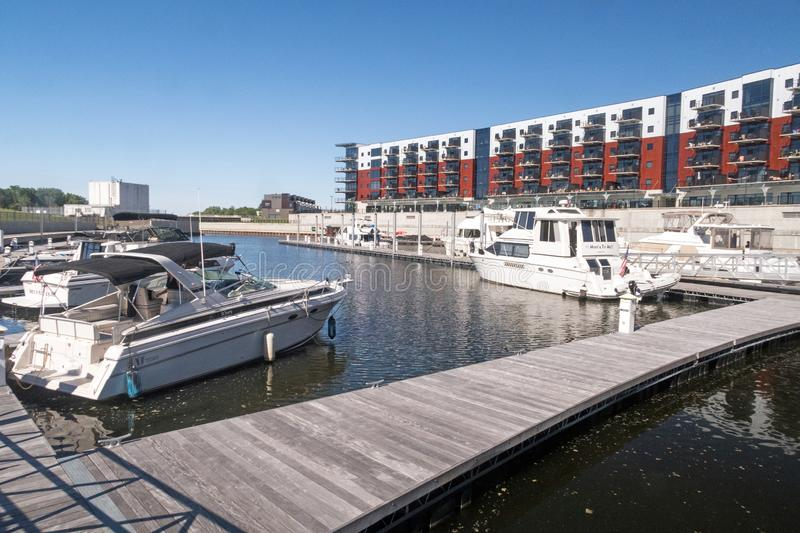 Mohawk Harbor boats and apartments stock images