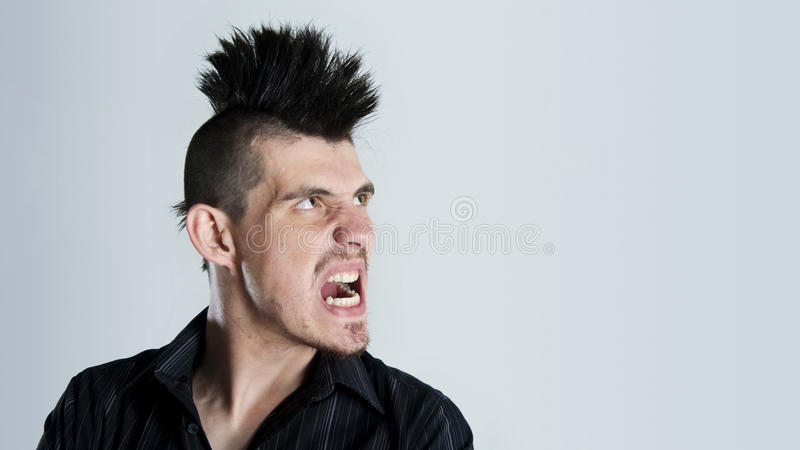 Mohawk rage stock photo