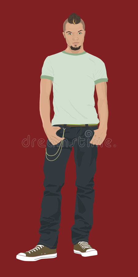 Mohawk teen. Teen or 20-something male with mohawk royalty free illustration