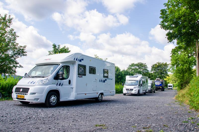 Mohnesee, Delecke, Germany - August 1, 2019: Motorhome Parking and campsites near Mohnesee royalty free stock photography