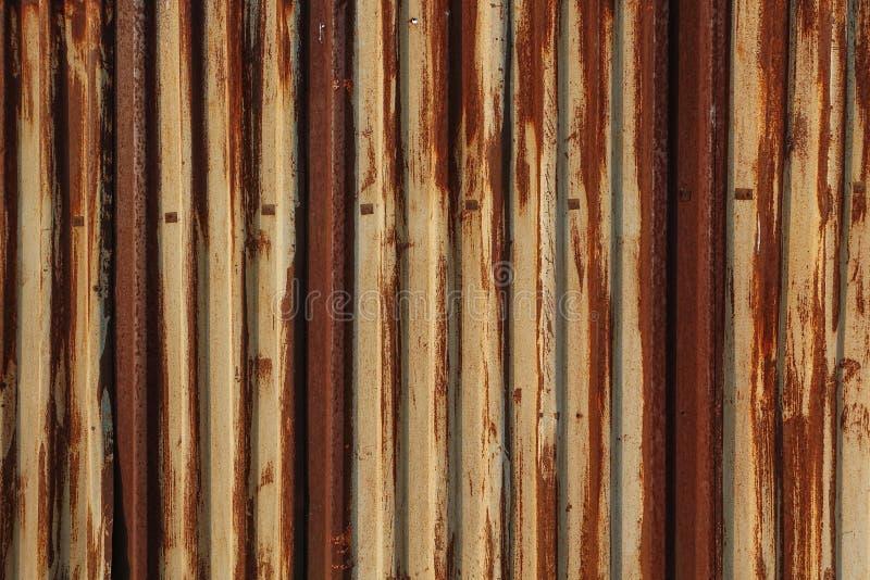 Moho en la gl?ndula Hoja del hierro acanalado con la peladura de la pintura amarilla Textura y fondo Rojo amarillo imágenes de archivo libres de regalías