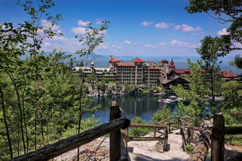 Mohonk Mountain House. Scenic view of Mohonk Mountain House and the Hudson Valley in New Paltz, New York stock image
