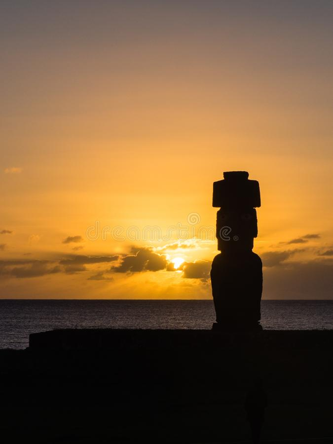 Moia silhouette in Easter Island during the sunset.  royalty free stock photo