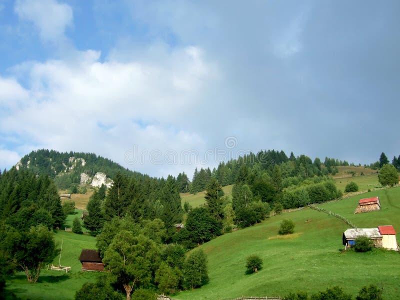 Moieciu de Sus. Rural landscape in Moieciu de Sus village, Brasov county,Romania royalty free stock photography