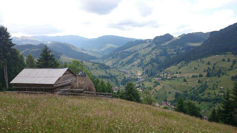 Moieciu de Sus, Romania. Landscape from Moieciu de Sus în Brașov county, Romania stock image