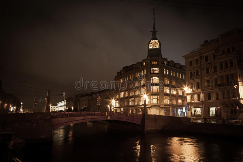 Download Moika Embankment Red Bridge Stock Photo - Image of night, channel: 28085764