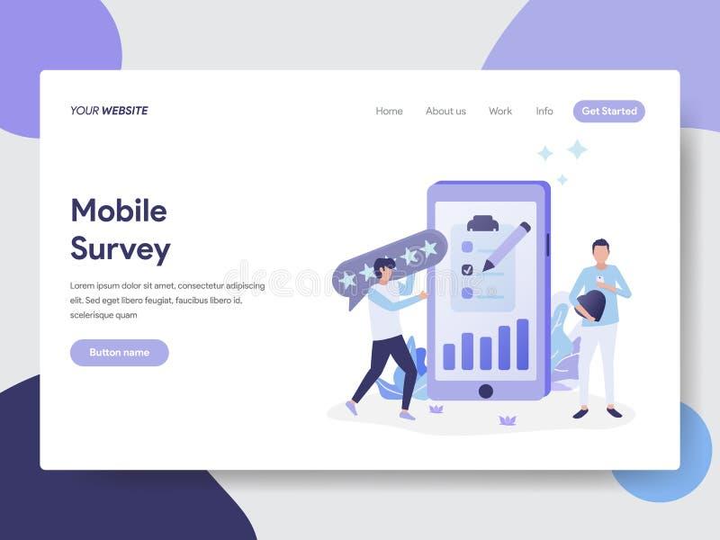 Moile调查例证概念登陆的页模板  网页设计的现代平的设计观念网站和机动性的 向量例证