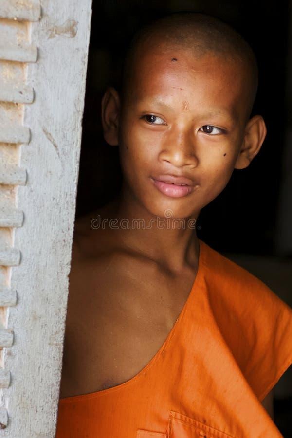 Moine au Cambodge images libres de droits
