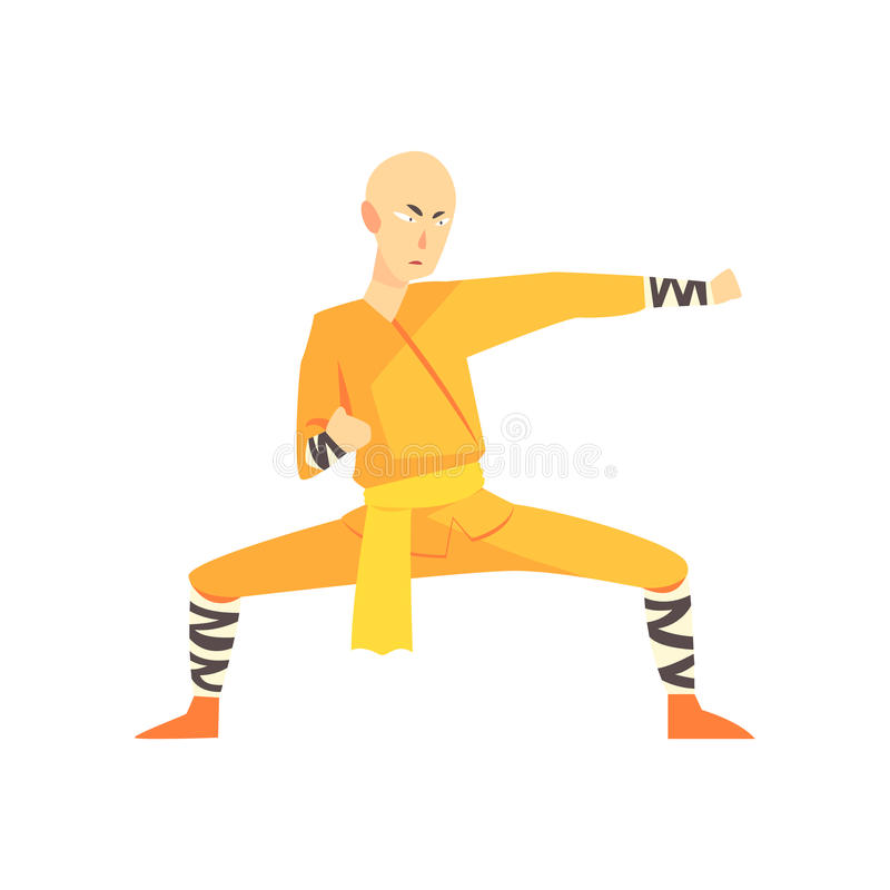 Moine audacieux Kung Fu Martial Arts Fighter, sports de combat de Shaolin d'Asiatique professionnels dans le combat traditionnel  illustration libre de droits