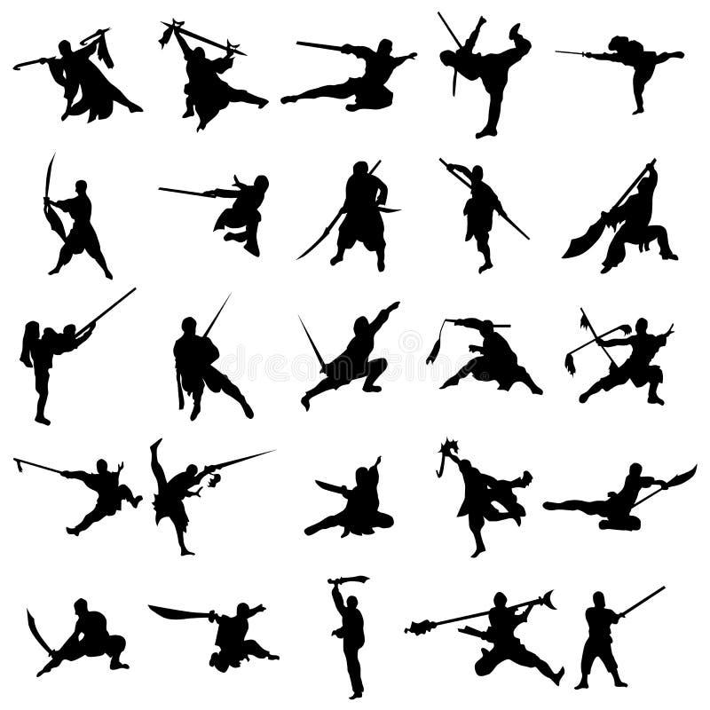 Moine avec l'ensemble de silhouette d'épée illustration stock