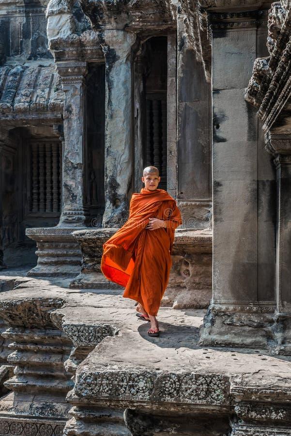 Moine bouddhiste marchant dans Angkor Vat Cambodge image libre de droits