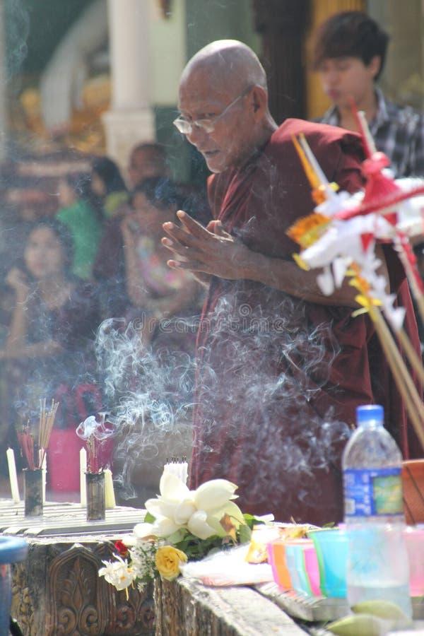 Moine priant à la pagoda de Shwedagon | Yangon, Myanmar image libre de droits